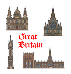 british travel landmark of architecture icon set vector image