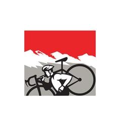 Cyclocross athlete running carrying bike alps vector