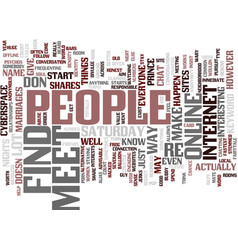 find and meet people text background word cloud vector image vector image