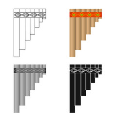 mexican pan flute icon in cartoon style isolated vector image
