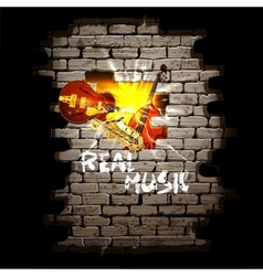 musical breakthrough in brick wall jazz guitar vector image