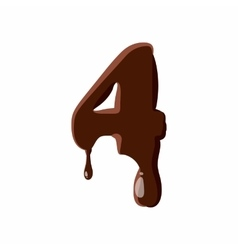 Number 4 from latin alphabet made of chocolate vector image vector image