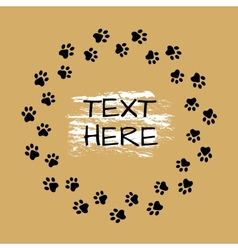 Round frame with animals footprints vector image