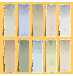 vertical old note papers vector image vector image