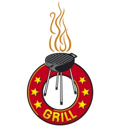 barbecue grill label - barbecue grill symbol vector image