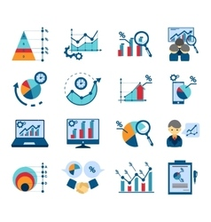 Data analysis flat icons collection vector image