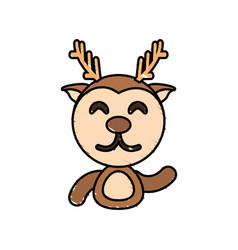 draw deer animal comic vector image vector image