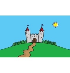 draw of scene with castle on vector image