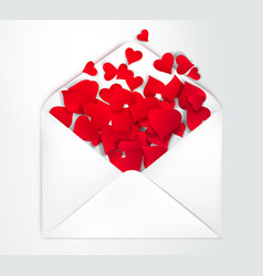 happy valentine s day open envelope with paper cut vector image vector image