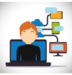 man laptop cloud connect technology device vector image