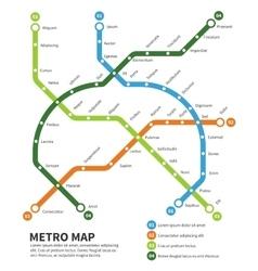 Metro subway map template vector image