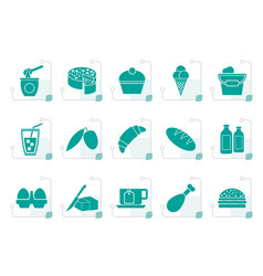 Stylized dairy products - food and drink icons vector