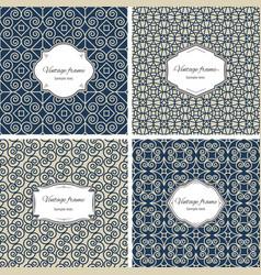 vintage seamless patterns with frame set vector image