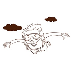 A plain drawing of a boy skydiving vector