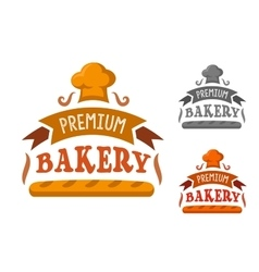 Bakery shop sign with baguette and toque vector image