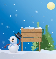 Christmas place with snowman vector image vector image