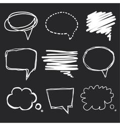 Hand drawn speech bubbles chalk on blackboard vector image