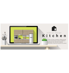 modern kitchen interior design background vector image