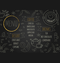 restaurant coffee menu design with chalkboard vector image