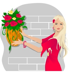 Young woman with flowers vector image vector image
