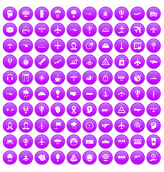 100 aviation icons set purple vector