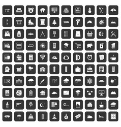 100 windows icons set black vector