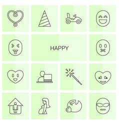 14 happy icons vector