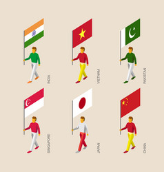 3d people with flags vector