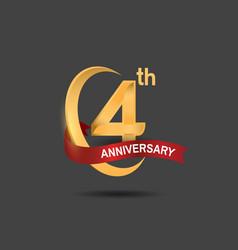 4 anniversary design logotype golden color vector