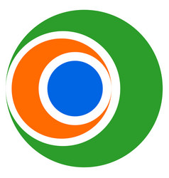 abstract tricolor geometric circle icon vector image