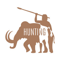 ancient man hunting mammoth logo template vector image