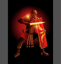 ancient rome legionnaire in a position ready vector image