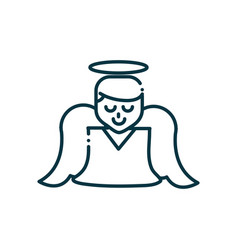 angel happy christmas line icon vector image