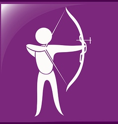 Archery icon on purple background vector image