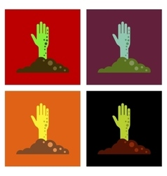 Assembly flat icons halloween zombie hand vector