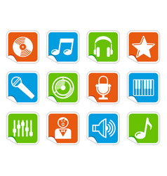 audio and music icons on stickers vector image