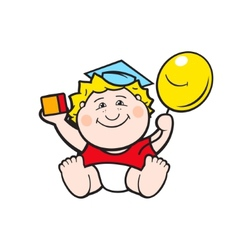 Baby with a ball vector