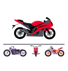 Best stylish sport and classic motorcycles set vector