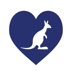 blue heart with australia kangaroo vector image