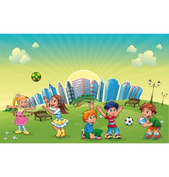 Boys and girls are playing in the park vector