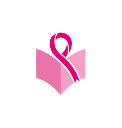 breast cancer book education logo vector image