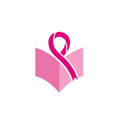 Breast cancer book education logo vector