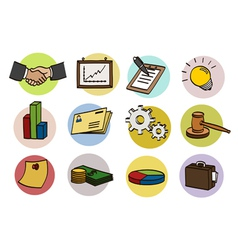 business doodle icon set vector image
