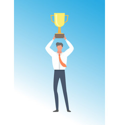 businessman achieving business excellence prize vector image