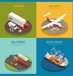 Cargo transportation isometric design concept vector