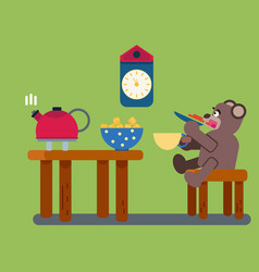 cartoon brown bear drinks tea vector image