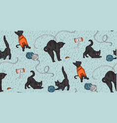 Cat funny print craft stitching embroidery print vector