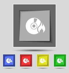 CD icon sign on original five colored buttons vector