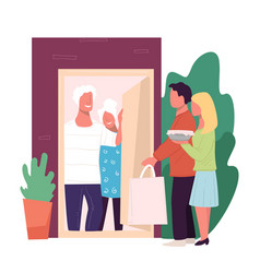 Children vising parents at home family evening vector