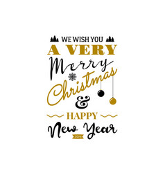 christmas greeting card typography design usable vector image